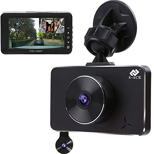 E-ACE Dash Cam Dual Lens FHD 1080p Car Video Recorder in Car Dashboard Camera 360 Degree with Night Vision, G-Sensor, Loop Recording,WDR,Parking Monitor for Uber Taxi [Alloy Shell] ()