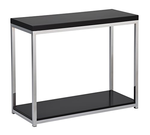 Work Smart/Ave Six WST07-BK-osp Wall Street Foyer Table, Black/Chrome Finish (Black Chrome Finish Wall)
