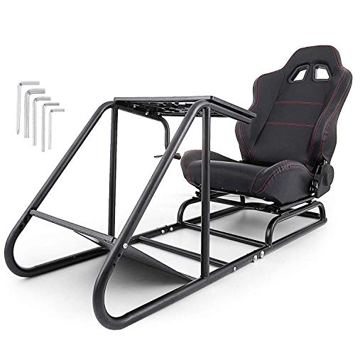 VEVOR Driving Simulator Seat Adjustable Driving Gaming Reclinable Seat with Gear Shifter Mount for PS2 PS3 PS4 Xbox Xbox 360 Xbox One Racing Wheel Stand Cockpit Racing Simulator Seat (Seat&Sta