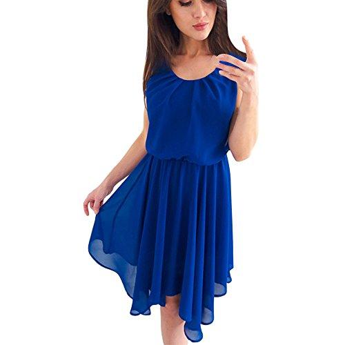 Damen Elegant Kleider T-Shirt Kleid Ärmelloskleid Hülsen Strandkleid Lose Einfache Einfarbig Maxi Kleidet beiläufige Lange Farbe Chiffon Poncho Frauen Freizeit Slim Prinzessin Kleid Blau