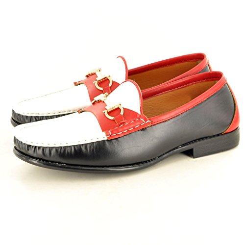 Herren Mokassins Schuhe auf Look Casual Leder Schwarz Weiß Loafer Rot Slip AwIUwr