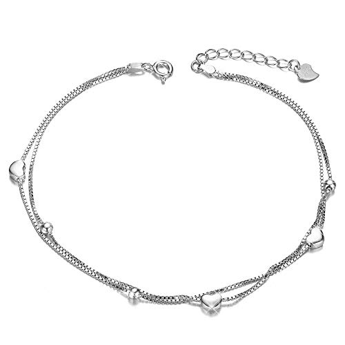 ANGELFLY Heart Love Foot Sterling Silver Adjustable Station Chain Anklets Bracelet for Women Girls,More Women Girls Prefer to Wearing This Anklet Everyday, for Her Birthday (Heart Love Anklets) ()