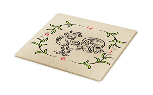 Lunarable Animal Cutting Board, Rooster and Floral Artistic Design Clock Time Swirls Leaves Farm Animal Theme, Decorative Tempered Glass Cutting and Serving Board, Small Size, Grey and Green by Lunarable