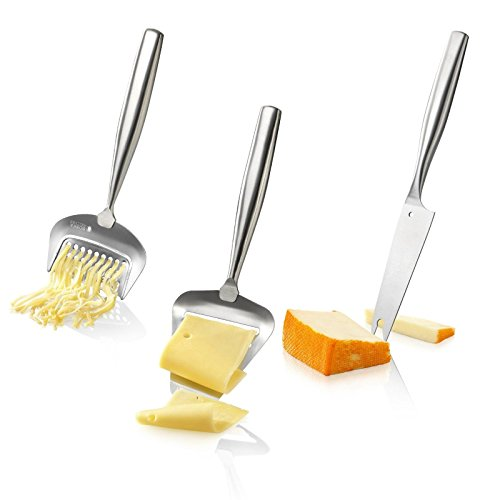 Boska Holland De Luxe Stainless Steel Cheese Grater, Cheese Slicer & Cheesy Knife - 3pc. Cheese Set by Boska Holland
