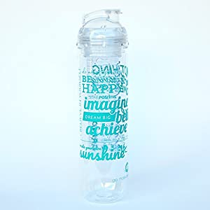 Fruit Infuser Motivational Water Bottle with Quotes, 27oz, BPA-Free (Teal Be Happy)