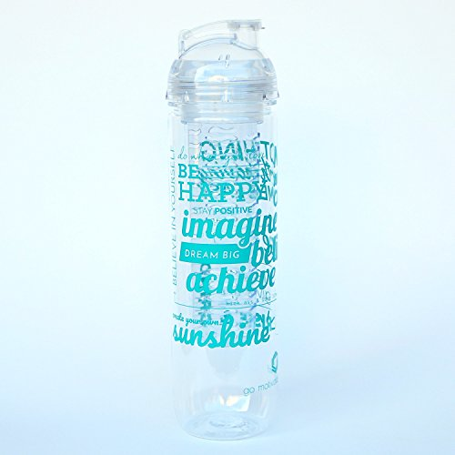 Motivational and Inspirational Fruit Infuser Water Bottles, 27oz, BPA-Free (Teal Be Happy)
