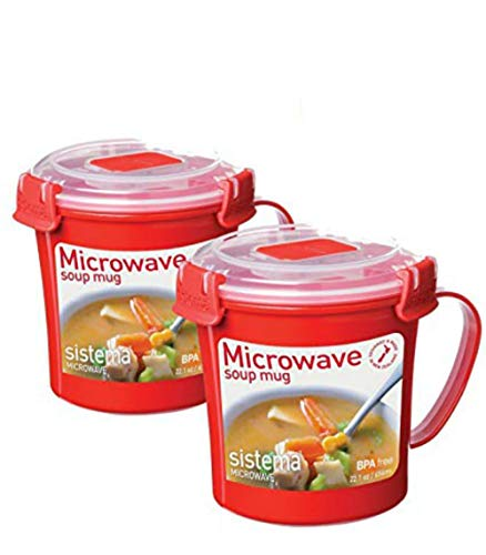 Sistema 656 ml Soup Mug, Colors may vary, 2 Pack by Sistema