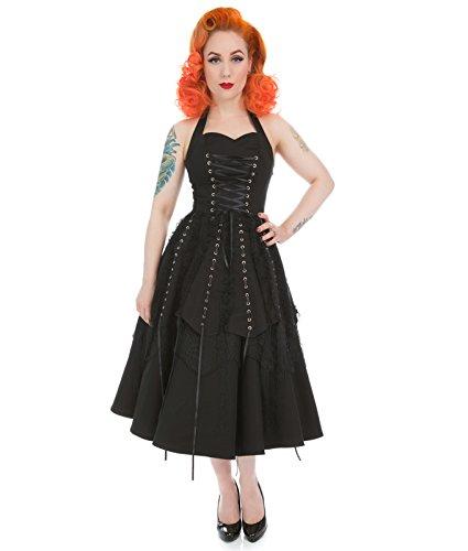 London Kleid Korsett amp;R Alternative H Ösen Neckholder schwarzes Gothic UCxq15