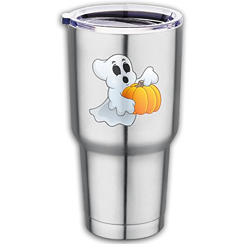 Stainless Steel Halloween Ghost With Pumpkin Car Coffee Cup-Fits Car Cup Holders And Keeps Your Beverage Hot Or Cold