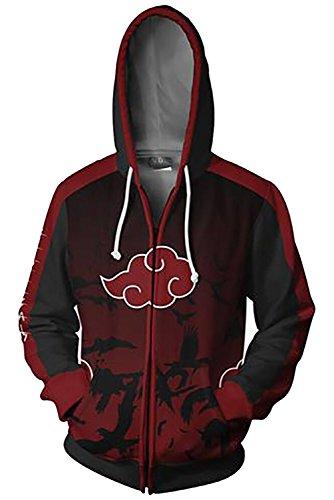 UU-Style Men's Naruto Kakashi Long Sleeve Bomber Jacket Cosplay Costume Jiraiya Hoodie Sweatshirt (Large, Akatsuki Cloud) ()