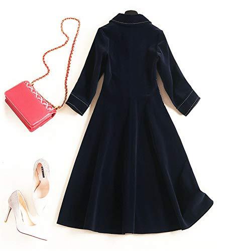 Con Collar Casual Lady Blue Cinturón Otoño Coat Femenino Larga Bordado Manga Sijux Outwear Laceing Polo Women Cazadora Falda Trench De Slim n8AFX1T