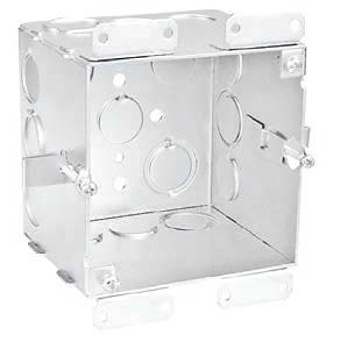 2 Pcs, 4'' Square Old Work Cut-In Box, 1-1/2 In. Deep, (6) 1/2 In. & (6) 1/2-3/4 In. Side Knockouts, .0625 Galvanized Steel to Add Devices, Speakers, Strobes, Alarms, & Devices to Hollow Walls by Garvin (Image #1)