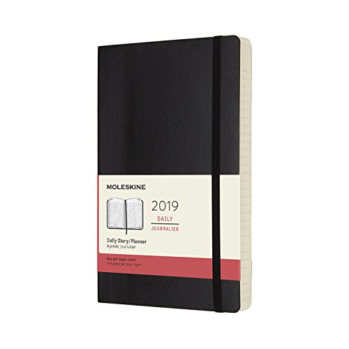 """Moleskine Classic Soft Cover 2019 12 Month Daily Planner, Large (5"""" x 8.25"""") Black - Daily Planner & Appointment Book for Organizing, College, Hourly Planning"""