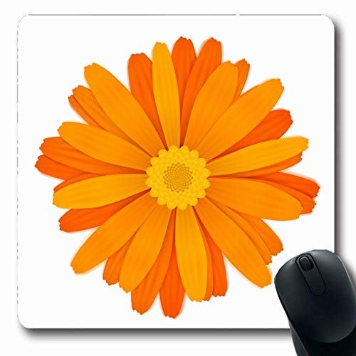 LifeCO Computer Mousepad Blossom Bloom Bright Colourful Orange Gerbera Flower Many Nature Yellow Botanical Botany Design Oblong Shape 7.9 x 9.5 Inches Oblong Gaming Non-Slip Rubber Mouse Pad Mat
