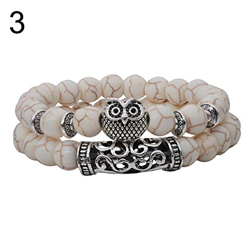TYewa98556 2Pcs/Set Women Fashion Carved Owl Charm Elastic Faux Gem Beaded Bracelet Jewelry - 3#