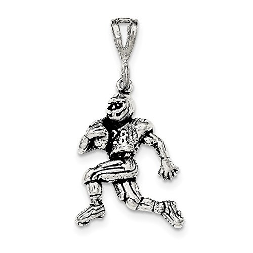 (Jewelry Pendants & Charms Themed Charms Sterling Silver Antiqued and Textured Running Football Player Pendant)