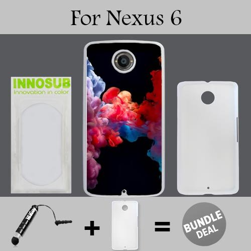Colorful Vape Smoke Custom Nexus 6 Cases-White-Plastic,Bundle 2in1 Comes with Custom Case/Universal Stylus Pen by innosub
