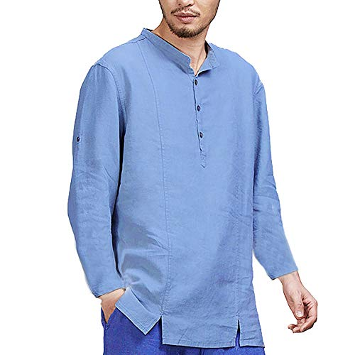 Bleu Homme Automne Manches Col Coton Lin Longues Shirt Chemise Bouton Et Tee Tonsi aW7nRav