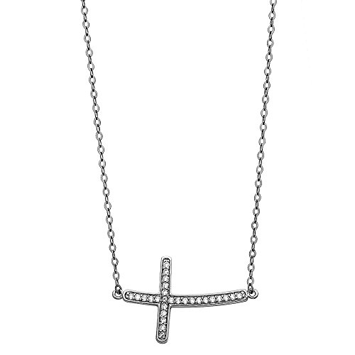 Jewels By Lux 14K White Gold Floating Curved Micro pave Cubic Zirconia CZ Sideways Cross Chain Necklace 17 Inches