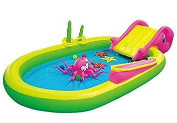 Jilong - Piscina para niños con juegos animales marinos 298 cm x 165 cm x 55 cm
