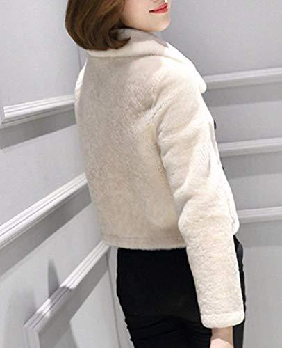 Abrigos Solapa Termica Manga Corto Chaqueta Sintética Modernas Piel Invierno Colores Mujer Larga Outerwear Sólidos Espesor De Huixin Blanco Otoño nWpqz68Y8