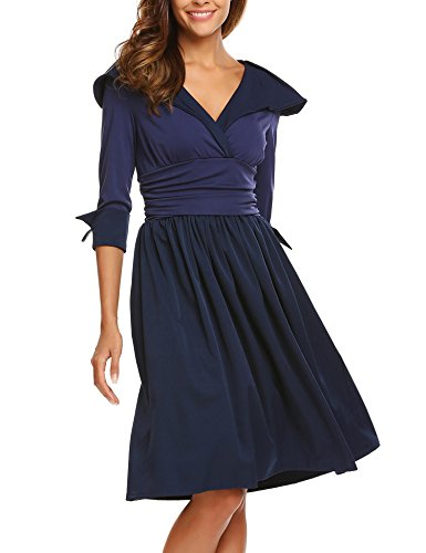 ANGVNS Women's 3/4 Sleeve A Line Flare Empire Waist Wrap Dress Navy Blue