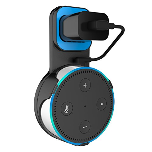 Outlet Wall Mount Hanger Holder Stand for Amazon Echo Dot 2nd Generation Plug in Kitchens, Bathroom And Bedroom (Black)