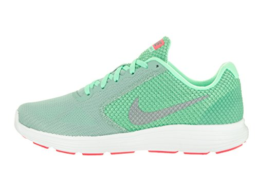 NIKE Women's Revolution 3 Laufschuh Kanone / Metallic Cool Grey / Green Glow