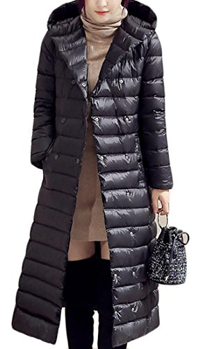 Sale Warm Zipper Casual Long Hooded Down Coat Winter Black Hot Full UK Women dfIUUqw