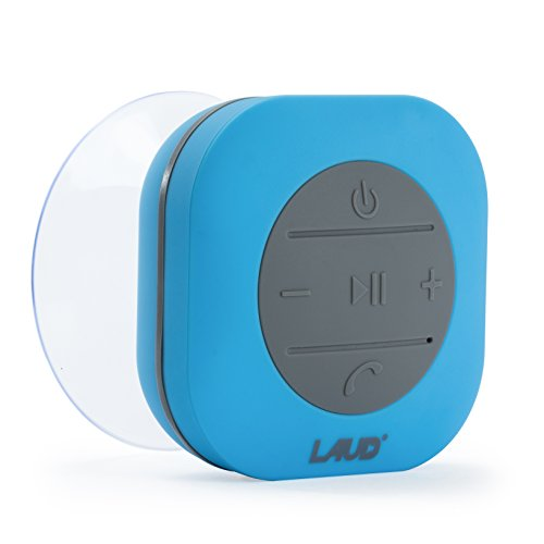 Laud Portable Bluetooth Shower Speaker – IPX4 Waterproof – Super Strong Suction Cup – Built In Mic For Hands free Calling – FM Radio Function – 6-Hour Music Playtime – Water Resistant Rubber (Blue)