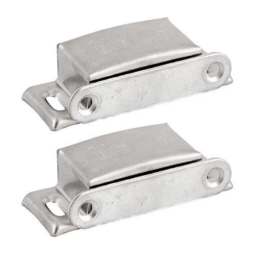 eDealMax Armario 65 mm Longitud de carcasa metálica magnética Titular de auto-alineación de tono de Plata 2pcs