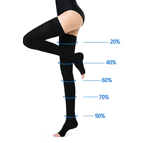 f3323d4bf5 ... SKYFOXE Thigh High Compression Stockings Women Men-Open Toe Firm  Support 20-30 mmHg ...