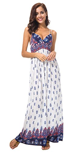 Urban GoCo Mujer Vestido Largo Maxi de Verano Elegante Boho Backless Sundress para Boda Playas Fiesta Noche Blanco