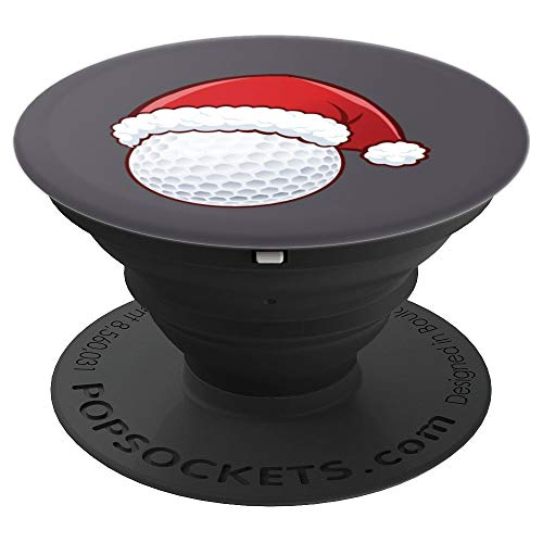 Christmas Golf Ball Art | Santa Claus Hat Fans Gag Gift - PopSockets Grip and Stand for Phones and Tablets