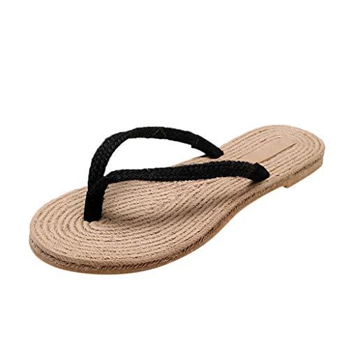 Women's Rope Sandals,YuhooSUN Flat Trendy National Style Slippers Weave Roman Style Summer Beach Flip Flops Black ()