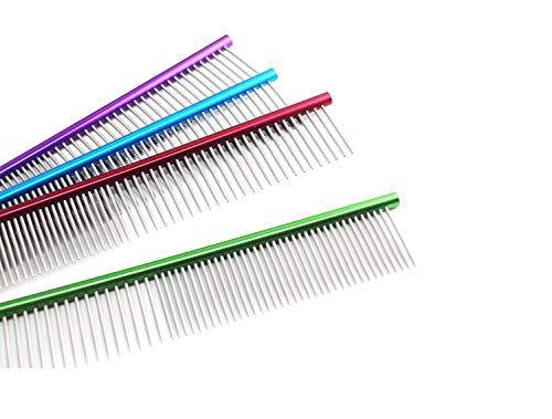 Glumes 19cm Stainless Steel Comb Pet Grooming Brush Anti-Static Hair Shedding Comb for Long Hair Dog & Cat with Different Spaced Rounded Teeth,Wide Trimmer Comb by Glumes (Image #5)
