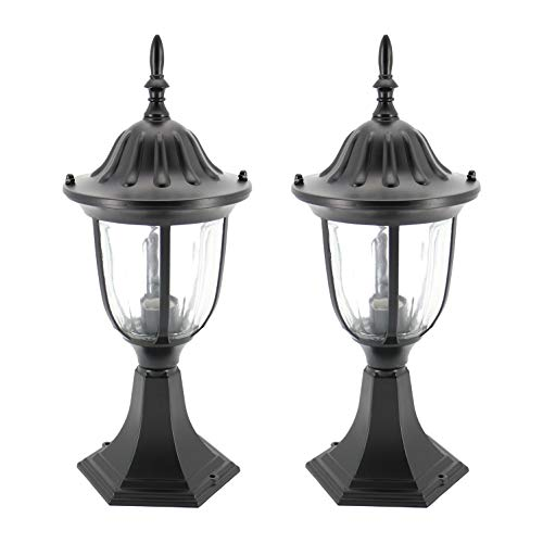 Black Post Lantern Cast - IN HOME 1-Light Outdoor Garden Post Lantern L03 Lighting Fixture, Traditional Post Lamp Patio with One E26 Base, Water-Proof, Black Cast Aluminum Housing, Clear Glass Panels, (2 Pack) ETL Listed