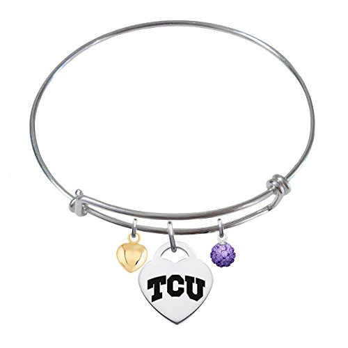 Texas Christian TCU Horned Frogs Sterling Silver Adjustable Bangle Bracelet with Heart Charm (Texas Horned Christian Frogs Charm)