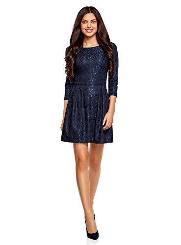 oodji Ultra Mujer Vestido Entallado de Punto Azul (7900n)