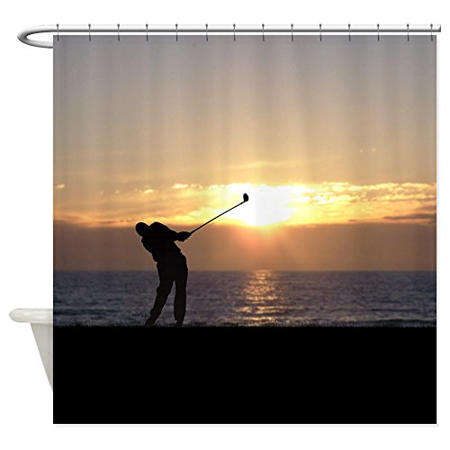 (CafePress Playing Golf At Sunset Decorative Fabric Shower Curtain (69