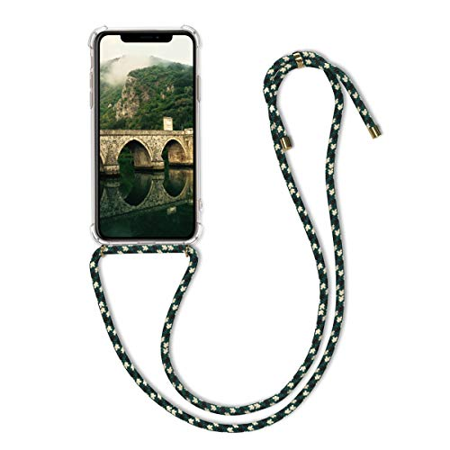 kwmobile Crossbody Case Compatible with Apple iPhone 11 Pro Max - Clear Transparent TPU Cell Phone Cover with Neck Cord Lanyard Strap - Transparent/Green/White