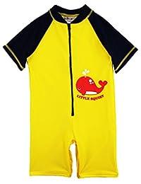 Sweet & Soft Baby Boys Swimwear Whale Squirt Animal Print 1-Piece Rashguard Sunsuit, Yellow, 6 Months