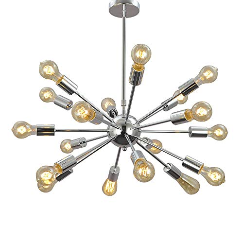 Aero Snail 1621S-18 Silver Vintage Retro Industrial Theme Metal Large Pendant Hanging Light Ceiling Lamp Chandelier 18 Lights Chrome Finish Arm Wires PRE-Connected