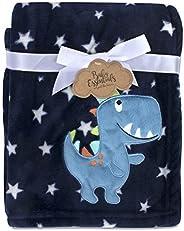 Baby Essentials - Cobija de forro polar para niños y niñas, Dino azul, Cuna