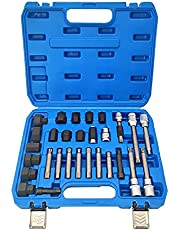 Elf Bee 30 Piece Alternator Pulley kit,Generator Pulley Removal Tool kit,Makes The Process of disassembling The flywheel Generator on or Under The Vehicle Simple