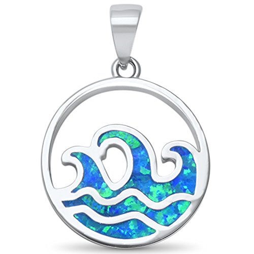 Oxford Diamond Co Lab Created Blue Opal Mini Waves .925 Sterling Silver Pendant from Oxford Diamond Co