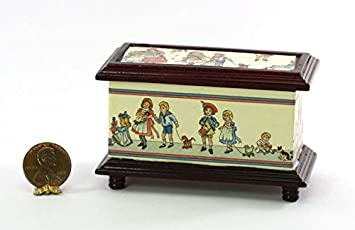 Dollhouse Miniature Mahogany Stained Wood Blanket or Toy Chest