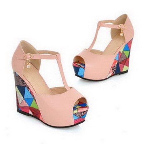 Amoonyfashion Womens Peep Toe Hoge Hak Wig Pu Zacht Materiaal Geassorteerde Kleuren Sandalen Met Platform Roze