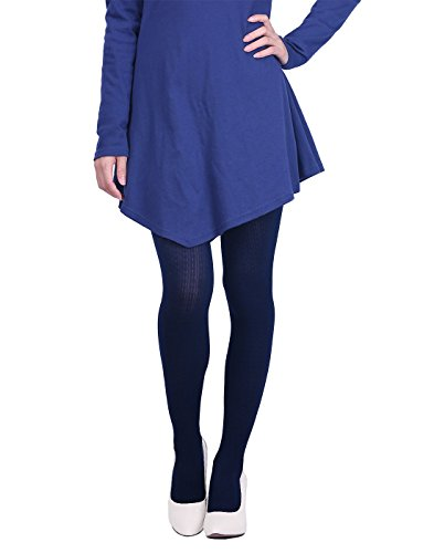 Lycra Opaque Stockings - HDE Women's Knit Winter Tights Herringbone Textured Opaque Spandex Stockings (Navy Blue)