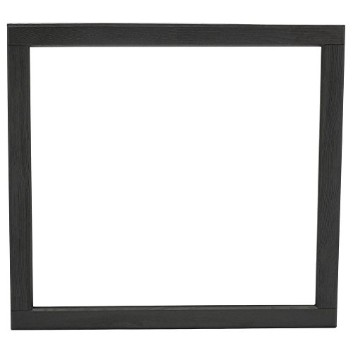 Hayes Contemporary 34 in. L x 32 in. W Vanity Wall Mirror in Black Oak (Dark Oak Mirror)